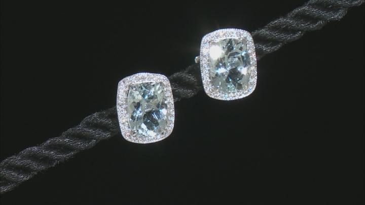 Blue Aqua Rhodium Over 14k White Gold Halo Stud Earrings 3.57ctw
