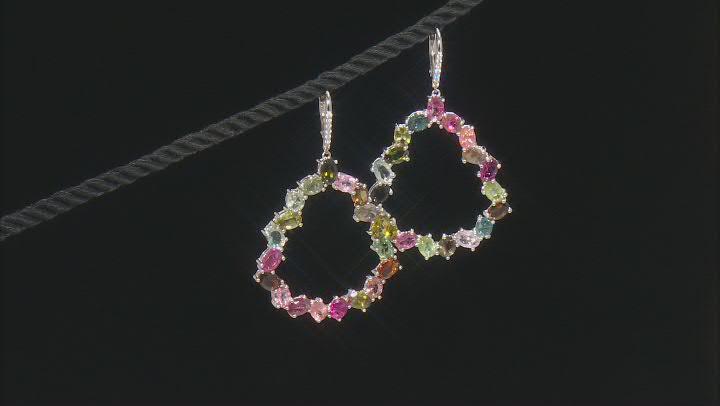 Multi-color Tourmaline Rhodium Over Silver Earrings 11.62ctw