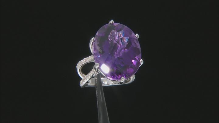 Purple Amethyst Rhodium Over Sterling Ring 20.85ctw