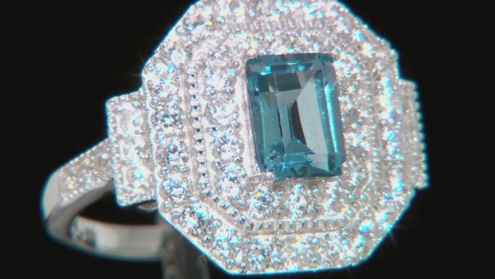 London Blue Topaz Rhodium Over Silver Ring 3.17ctw