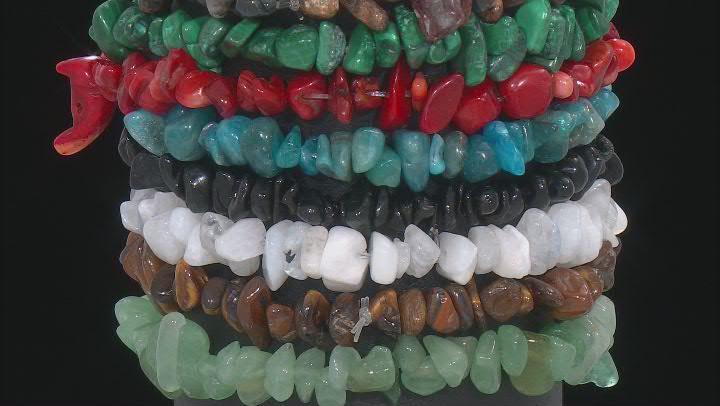 Chip Multi-Gemstone Set of 8 Stretch Bracelets