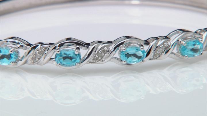 Blue Topaz Rhodium Over Sterling Silver Bracelet 2.81ctw