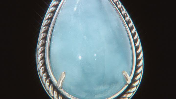 Blue Dreamy Aquamarine Rhodium Over Sterling Silver Ring