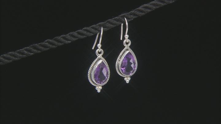Purple Amethyst Rhodium Over Sterling Silver Dangle Earrings 4.90ctw