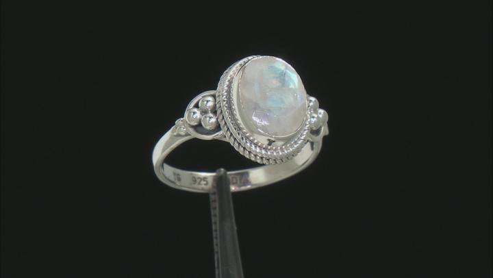 Rainbow Moonstone Rhodium Over Sterling Silver Ring