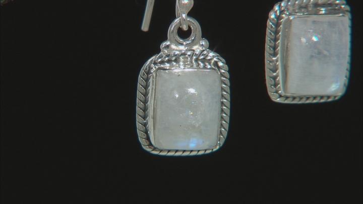 Rainbow Moonstone Rhodium Over Silver Earrings