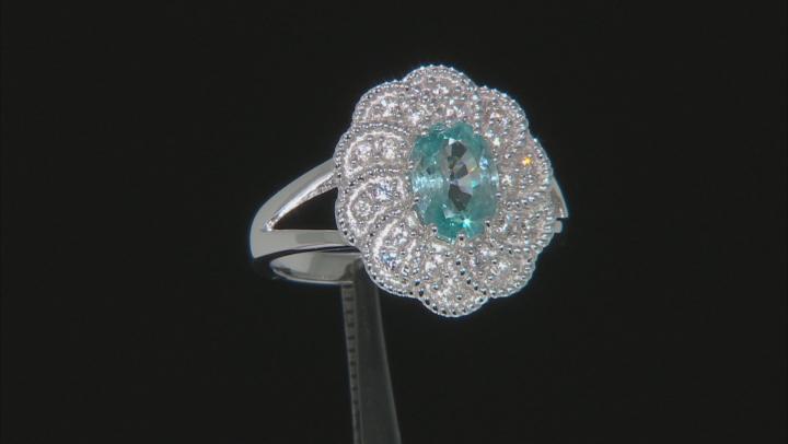 Blue Zircon Rhodium Over Sterling Silver Ring 2.29ctw