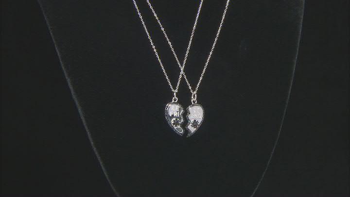 Round Black Spinel Rhodium Over Silver Best Friends Pendants, Set of 2 0.75ctw