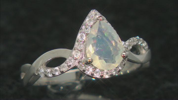 Ethiopian Opal Rhodium Over Silver Ring 0.65ctw