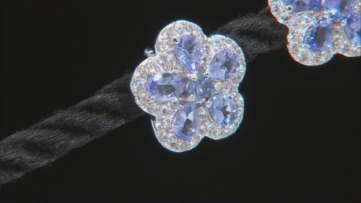 Tanzanite Rhodium Over Silver Flower Earrings 2.12ctw