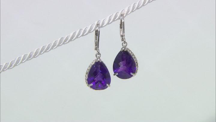 Purple African Amethyst Rhodium Over Silver Dangle Earrings 13.00ctw