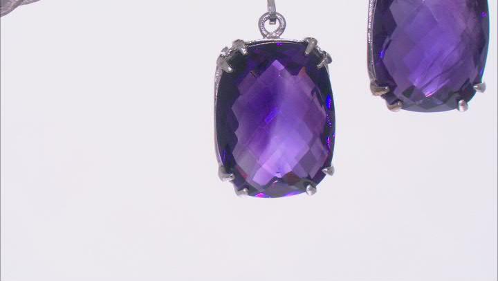 Purple Amethyst Rhodium Over Sterling Silver Earrings 13.00ctw