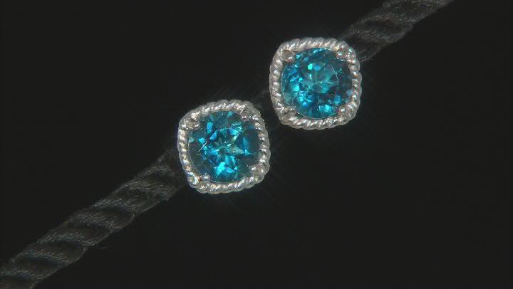 London Blue Topaz Rhodium Over Sterling Silver Stud Earrings 4.25ctw