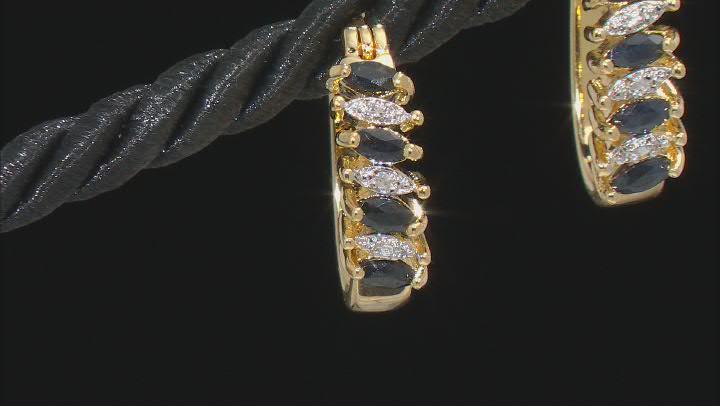 Black Sapphire 18K Yellow Gold Over Bronze Earrings. 0.64ctw
