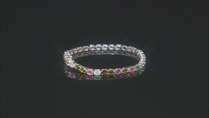 Multi- Tourmaline Rhodium Over Sterling Silver Tennis Bracelet 7.25ctw
