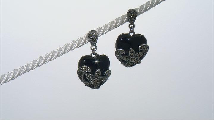 Black Agate Sterling Silver Over Bronze Earrings.