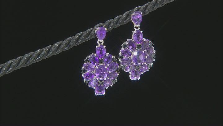Purple Amethyst Rhodium Over Sterling Silver Earrings 9.45ctw