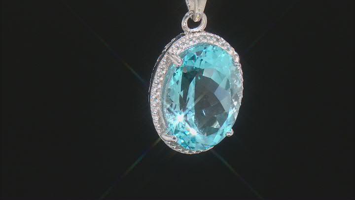 Sky Blue Topaz Rhodium Over Sterling Silver Pendant W/ Chain 20.50ctw