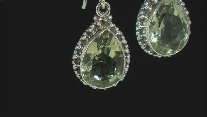 Green Prasiolite Rhodium Over Sterling Silver Earrings 7.50ctw