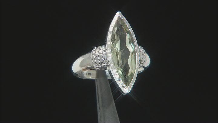 Green Prasiolite Sterling Silver Ring 3.50ctw