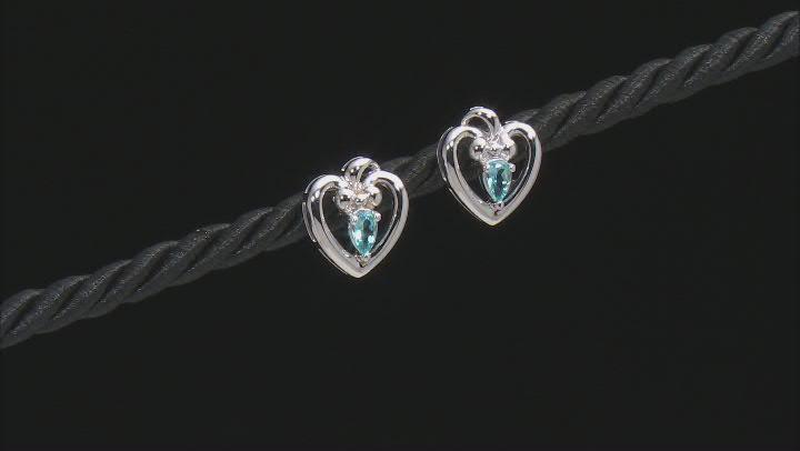 Swiss Topaz Rhodium Over Sterling Silver Heart Shaped Stud Earrings .43ctw.