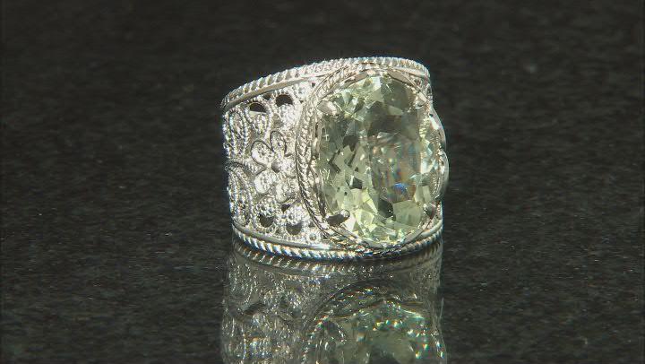 Green Prasiolite Rhodium Over Sterling Silver Ring 8.55ct
