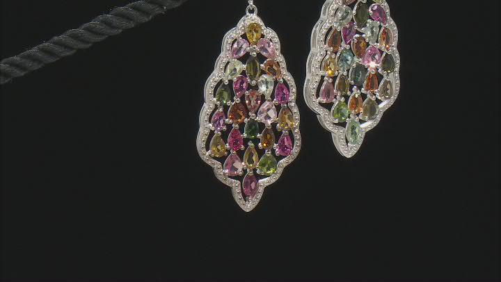 Multi-Color Multi-Tourmaline Rhodium Over Sterling Silver Dangle Earrings 8.90ctw