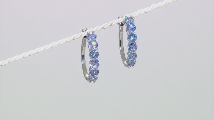 Blue Tanzanite Rhodium Over Sterling Silver Hoop Earrings 4.50ctw