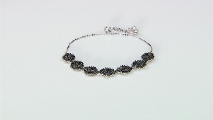 Black Spinel Rhodium Over Sterling Silver Bolo Bracelet 2.60ctw
