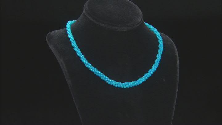 Multi-Size Paraiba Blue Color Opal Bead Sterling Silver Necklace