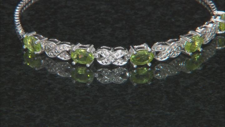 Peridot Rhodium Over Sterling Silver Bolo Bracelet 2.16ctw