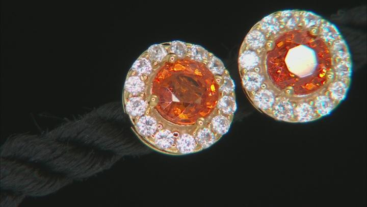Orange Mandarin Garnet 18K Gold Over Sterling Silver Earrings 1.50ctw