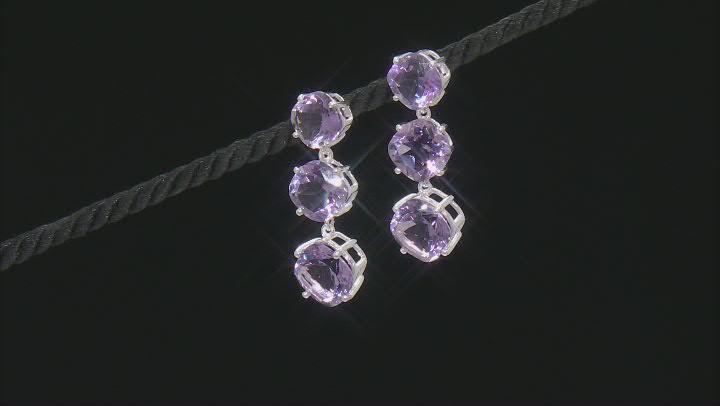 Lavender Amethyst Sterling Silver Dangle Earrings 25.00ctw