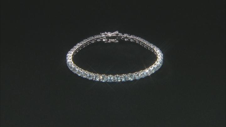 Aquamarine Rhodium Over Sterling Silver Tennis Bracelet 11.28ctw