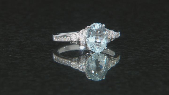 Aquamarine Rhodium Over Sterling Silver Ring 1.92ctw