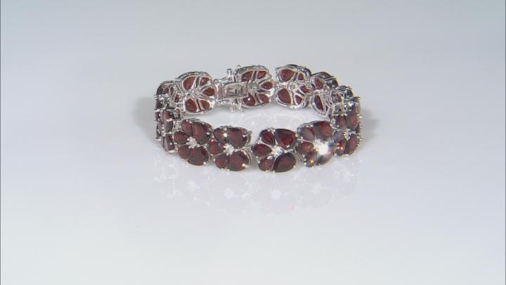 Garnet Rhodium Over Sterling Silver Bracelet 45.80ctw