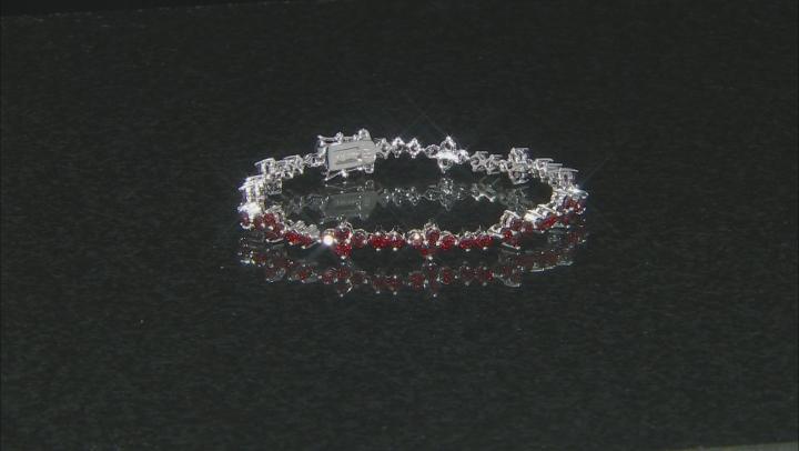 Red Garnet Rhodium Over Sterling Silver Tennis Bracelet 6.28ctw