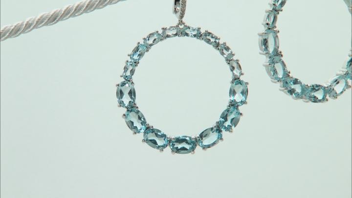 Sky Blue Topaz Rhodium Over Sterling Silver Dangle Earrings 20.10ctw
