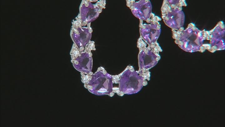 Amethyst Rhodium Over Sterling Silver Drop Earrings 17.10ctw