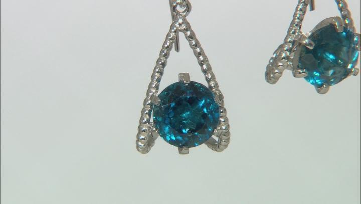 London Blue Topaz Rhodium Over Sterling Silver Earrings 8.00ctw