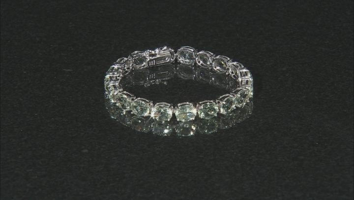 Green Prasiolite Rhodium Over Sterling Silver Tennis Bracelet 30.40ctw