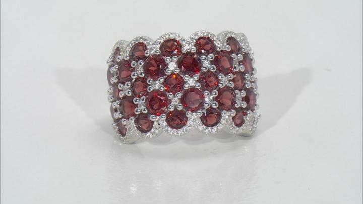 Red Garnet Rhodium Over Sterling Silver Ring 8.35ctw