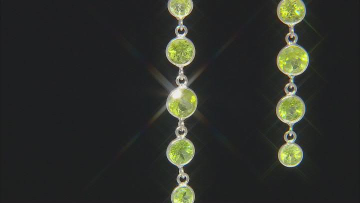 Peridot Rhodium Over Sterling Silver Dangle Earrings 7.80ctw
