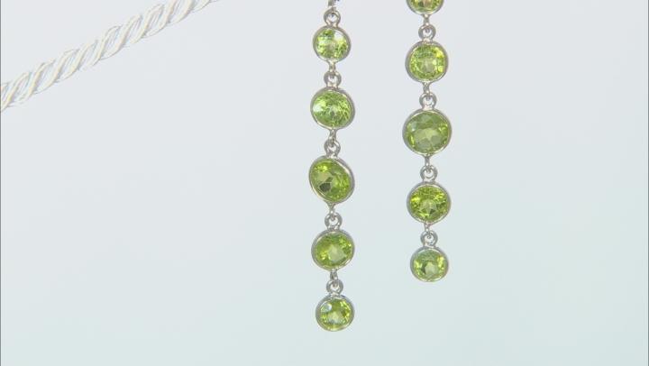 Peridot Rhodium Over Sterling Silver Dangle Earrings 7.8ctw