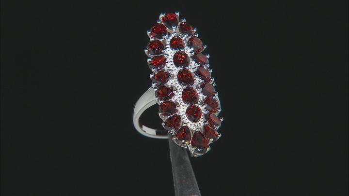 Red Garnet Rhodium Over Sterling Silver Ring 6.80ctw