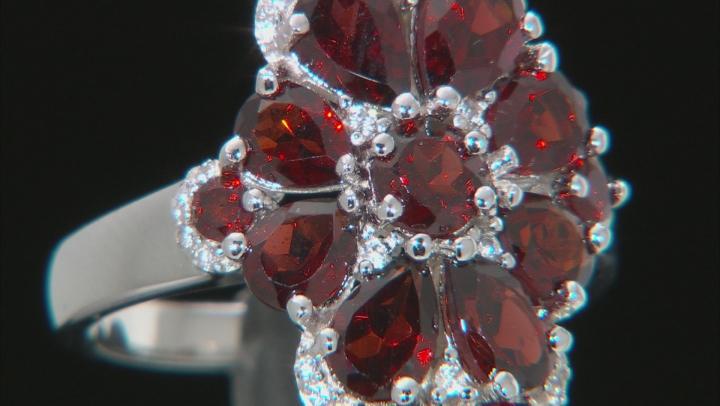 Red Garnet Rhodium Over Sterling Silver Ring 4.24ctw