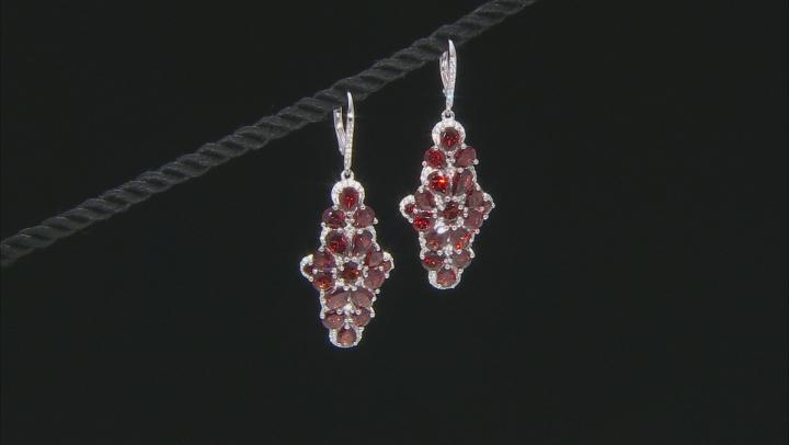 Red Garnet Rhodium Over Sterling Silver Earrings 7.95ctw
