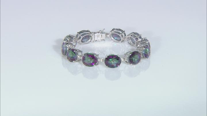 Multi-Color Quartz Rhodium Over Sterling Silver Tennis Bracelet  45ctw