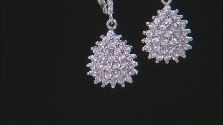 White Zircon Rhodium Over Sterling Silver Dangle Earrings 1.73ctw