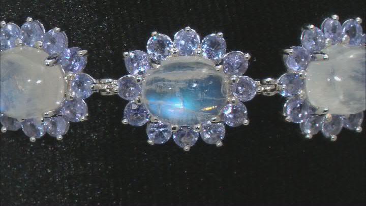 White Rainbow Moonstone Rhodium Over Sterling Silver Bracelet 11.77ctw